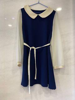 藍色綁帶洋裝#東京