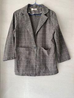 灰色格紋薄款外套#東京