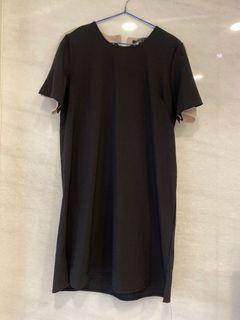 黑色後綁帶拼接洋裝#東京
