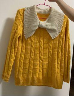活力黃大蝴蝶結針織上衣