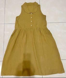 芥末黃圓領背心洋裝