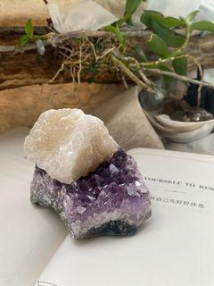 晶礦選品_紫水晶共生方解石