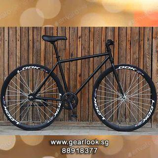 """FREE ASSEMBLY / FREE DELIVERY INSTOCKS Fixie black rim bicycle Road bicycle 26"""" for food delivery rear rack Single speed mountain road cycle [1-3 Days Delivery].*SELLING FAST*.*GRAB IT NOW*.💥Whatapp us at 88918377"""