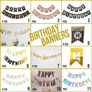 Happy Birthday Banners Black Gold Silver White Brown Laser Cursive Script Stripes Party Needs