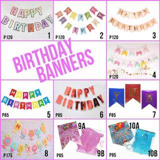 Happy Birthday Banners Pink Pastel Red Purple Blue Colour Blue Wine Party Needs