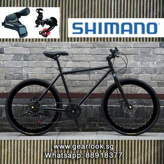 """INSTOCKS Shimano 7 Speed Gear Road Bicycle For Food delivery black rim bicycle Road bicycle 26"""" Disc brakes for food delivery rear rack Thermal Bag Hybrid Bike mountain road cycle [1-3 Days FREE Delivery] 💥Whatapp us at 88918377"""