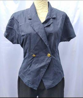 Navy blue short sleeves blazer