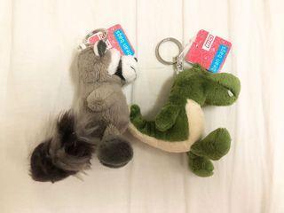 NICI 動物鑰匙圈 吊飾 童趣 絨毛玩偶 鱷魚 恐龍 浣熊 包包掛飾