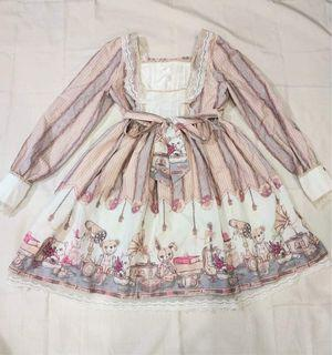 Classic Vintage Pink and Blue Lolita OP Bunny, Bear, and Cat Print Dress