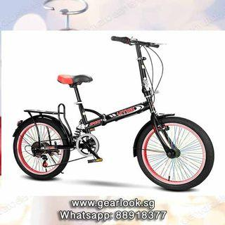 """SAME DAY DELIVERY WITH GEAR Vmax 20"""" Foldable Bike / folding bike / 6 speed Gear / handbrakes / aluminium frame / Full Suspension mountain bike foldable road bike adult Suit for delivery bag rear rack thermal bag 26"""" 24"""""""