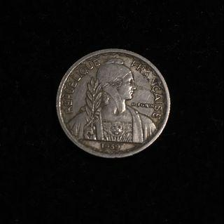 1939 French Indochina 10 Centimes ( magnetic)