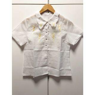 日本古著🇯🇵精緻秀氣彩色小花刺繡棉麻襯衫(短袖黃花)_ST2280