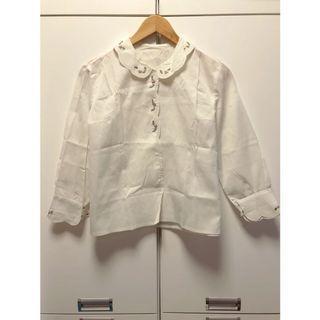 日本古著🇯🇵精緻秀氣彩色小花刺繡棉麻襯衫(長袖紫花)_ST2281