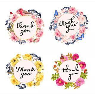 "🆕️ 50pcs Floral Thank You 3.8cm/1.5"" Inch Sticker Labels"