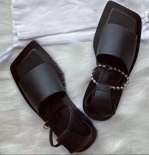 訂製款不對稱設計 圓珠鍊條方頭涼拖鞋 方頭低跟鞋 個性方頭涼拖鞋 露趾涼鞋 性冷淡風個性涼鞋 SH174