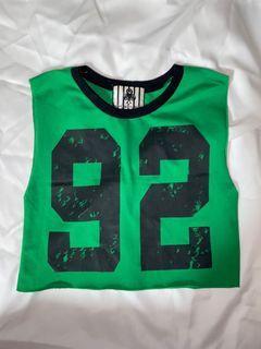 綠色小球衣 短背心 夏天涼爽 外搭 運動風 數字T