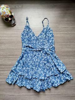 ALLY Blue Floral Tie Romper
