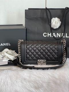 Authentic Chanel Leboy Old Medium Caviar in Black RHW ( Microchip )