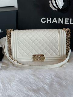 Authentic Chanel Leboy Old Medium Caviar in White Champagne GHW ( Microchip)