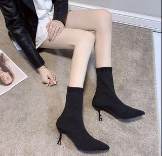 Black Ankle High Sock Boots