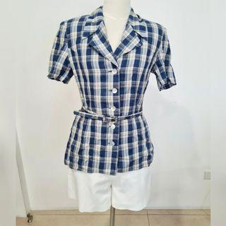 blue checkered polo top with belt