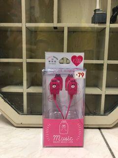 DAISO  GT研究所可愛兔子款3.5mm耳機(附麥克風)