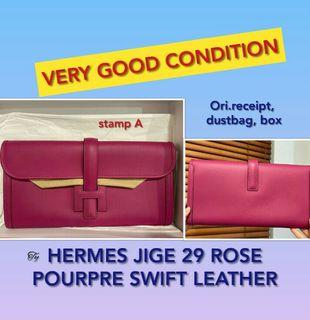 HERMES JIGE 29 ROSE POURPRE SWIFT LEATHER