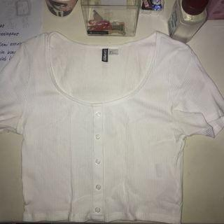 Hnm Buttoned White Crop Top ala Cardigan