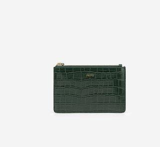 Jw pei Quinn 拉鏈卡包 - 墨綠色鱷魚紋 卡夾 卡包 短夾