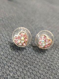 粉紅鑽愛心鍍白K耳環