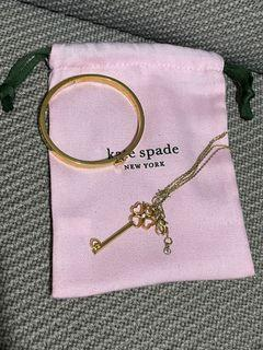 Kate Spade Key Pendant Necklace and Ladies Gold Heritage bangle
