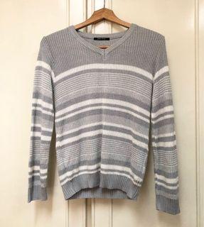 日本帶回one way 條紋針織上衣 毛衣 日本製 寬鬆 v領 長袖針織 灰白條紋 日牌 日貨