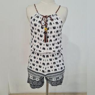 patterned black and white romper