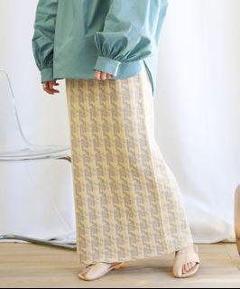 Select moca 格紋針織直筒長裙