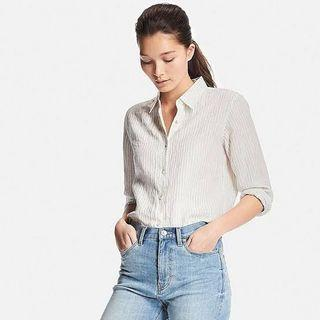 Repriced!!! Uniqlo Striped Linen Shirt Outfit Beige