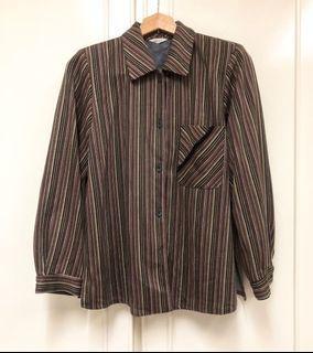Vintage 日本製條紋花邊口袋襯衫 長袖上衣 古著 復古 彩色條紋