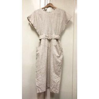 Vintage 千金小姐亞麻洋裝 米色 寬腰帶 古著 棉麻 復古 優雅 無袖 半袖