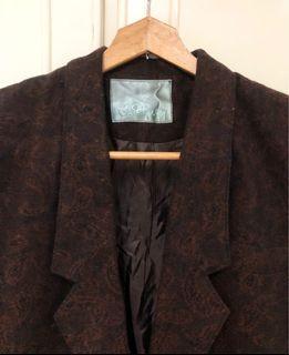 Vintage 毛料西裝外套 咖啡酒紅色 美品 變形蟲 古著 復古 墊肩 翻領 大衣 金釦
