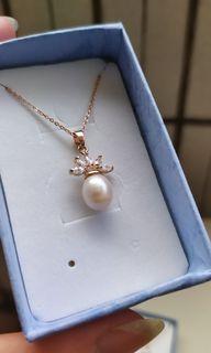 純銀925鍍玫瑰金珍珠項鍊