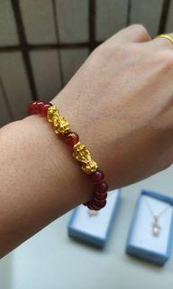 紅瑪瑙鍍金貔貅手鍊