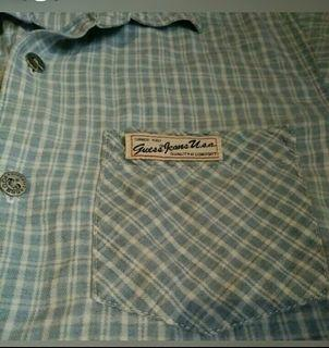 authentic guess buttondown  checkered polo