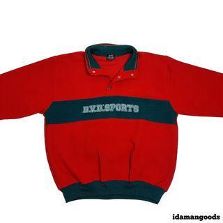 BVD Sports halfbutton tracktop red