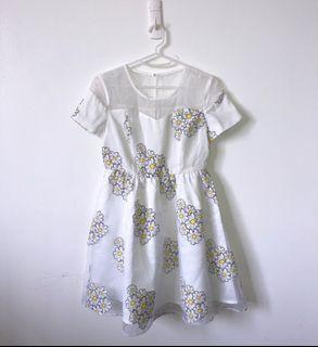 CANDIE'S Floral Daisy Mesh Mini Dress