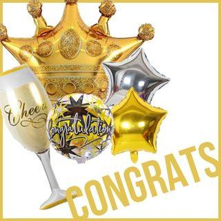 Congratulations Graduate Crown Cheers Stars Gold Silver Foil Balloons Party Needs