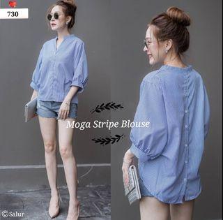 ec Moga stripe blouse l atasan fashion baju blouse wanita