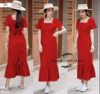 ec Square linen dress Red l atasan fashion baju dress wanita