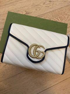 Gucci GG marmont leather wallet on chain  鏈條 銀包