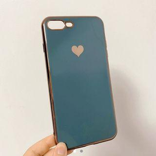 iphone 7 & 8 plus phone case - blue heart with metallic gold border