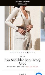Ivory croc shoulder bag/like new