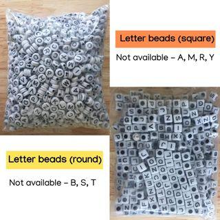 Letter beads for bracelets  (round and square)